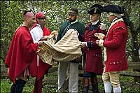 recreation of the giving of smallpox infected               blankets